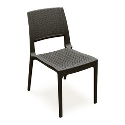 Compamia - Verona Resin Wickerlook Dining Chair Brown - Set of 2 - Verona wickerlook resin dining chair. Wickerlook resin is a natural looking un-woven one piece furniture technology. It is made with open weave design that resembles traditional woven wicker furniture. Wickerlook furniture will never unravel. No metal parts to rust, no moving parts that can break. Made for commercial durability. Stackable. Perfect for hotels and restaurants. Resin is extremely durable for outdoors. Easy cleaning. Just hose down with water. UV treated and won`t fade.