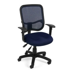 OFM - OFM Comfort Series Ergonomic Mesh Task Chair with Arms - Comfy Seat, Navy - This modern ergonomic task chair features a mesh back to keep you cool and ergonomic adjustments to keep you comfortable. The breathable mesh back adjusts in height and pitch instantly for day-long comfort. The seat pitch adjusts and there is even built-in adjustable lumbar support! Arms are included that adjust for total ergonomic comfort. The modern design is perfect for any office or home office environment.