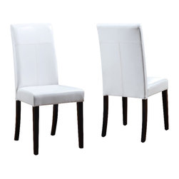 Modus Furniture - Modus Urban Seating Parsons Chairs in White Leatherette (set of 2) - Modus Furniture - Dining Chairs - 2E0366 - We created the Urban Seating collection to provide stylish affordable seating and storage options throughout the home. Great around a table in a foyer a game room or a den chairs are engineered for easy assembly using durable 9 bolt grooved corner block construction and feature web seat cushions for extra comfort. Storage cubes and benches ship fully assembled and feature padded tops upholstered interiors and built-in wood serving trays. The cubes and benches are a smart accent to any room of the house and are great for storing bed linens shoes toys magazines gaming accessories and other household clutter. All Urban Seating products are available in a supple leatherette that?s durable stylish and easy to clean.