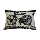 Koko Company - Koko Company Southern India Vintage Bicycle Print Pillow - Bring a bit of old-world Indian design to your decor. This black-and-white cotton pillow, inspired by a match manufacturer's logo, adds a cool, unique touch to your couch.