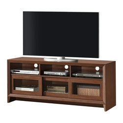 "Techni Mobili - Techni Mobili Contemporary 65 Inch TV Stand in Hickory - Contemporary 65 Inch TV Stand in Hickory by Techni Mobli This contemporary Techni Mobili TV cabinet, for TVs up to 65"", is designed to fit any bedroom or family room. It includes three two-way sliding doors revealing storage space as well as three storage shelves for accessory storage. The Techni Mobili TV cabinet is made of compressed wood that is resistant to scratches and a paper laminate surface.  The variety of storage space allows for a variety of placement options for electornics and gaming accessories.  TV Stand (1)"