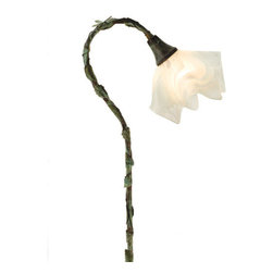 Meyda Lighting - Meyda Lighting Blanco Swirl Handkerchief Shepherd's Hook Fixture - A Verdi Finished Shepherd Hook Landscape Fixture, Covered In Leaves And Accented With A Tiny Dragonfly, Holds A Draped Sugar White And Ice Toned Blanco Swirl Baroque Art Glass Shade. This Fixture Is Handcrafted In The USA By Meyda Craftsman.