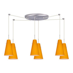 Besa Lighting - Besa Lighting 6JC-4124AM-LED Cierro 6 Light LED Cord-Hung Mini Pendant - Cierro is a softly tapered narrow cylinder, creating a refined contemporary look. Our Apricot Matte glass is a bright, yellow-orange cased glass, with an opal inner layer. This look creates an atmosphere that can be calming and earthy. When lit this gives off a light that is functional and soothing. The smooth satin finish on the clear outer layer is a result of an extensive etching process. This blown glass is handcrafted by a skilled artisan, utilizing century-old techniques passed down from generation to generation. The cord pendant fixture is equipped with six (6) 10' SVT cordsets and a 6-light large round canopy, six (6) suspension stemhooks included.Features: