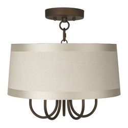 """Lamps Plus - Traditional Wynwood 16"""" Wide Ceiling Light with Off-White Drum Shade - The Wynwood semi-flushmount ceiling light comes in a handsome oil-rubbed bronze finish. The design offers the classic look of a chandelier with five lights but is updated with a stylish off-white drum shade with gosgrain ribbon trim. A wonderfully refreshing designer look for your living space.  Oil-rubbed bronze finish. Off-white drum shade with gosgrain ribbon trim. Semi-flushmount ceiling light. Takes five 40 watt candelabra bulbs (not included).  15"""" high.  Chandelier only is 9"""" high 13"""" wide. Shade is 15"""" across the top 16"""" across the bottom 7"""" high. Canopy is 5 1/2"""" wide. Some assembly required; instructions included.  Oil-rubbed bronze finish.  Off-white drum shade with gosgrain ribbon trim.  Semi-flushmount ceiling light.  Takes five 40 watt candelabra bulbs (not included).  15"""" high.   Fixture only is 9"""" high 13"""" wide.  Shade is 15"""" across the top 16"""" across the bottom 7"""" high.  Canopy is 5 1/2"""" wide.  Some assembly required; instructions included."""