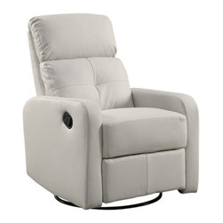 Monarch Specialties - Monarch Specialties 8085WH Bonded Leather Swivel Glider Recliner in White - This contemporary design accent chair combines 3 functional elements it swivels, it glides, and it reclines, ensuring that you are always in a comfortable position. This brown bonded leather chair with a padded head rest was designed for ultimate comfort. Whether reading a book or watching sports this will be the chair that everyone will want to sit on. The easy glide motion and the contemporary design makes it a chic and fashionable addition for your den, bedroom, living room or basement. It truly is a chair for any room in your home.