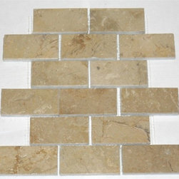 "2"" x 4""Sahara Beige Polished Mesh-Mounted Marble Mosaic Tiles - 2"" x 4"" Sahara Beige Marble Mesh-Mounted Mosaic Tile is a great way to enhance your decor with a traditional aesthetic touch. This Polished Mosaic Tile is constructed from durable, impervious Marble material, comes in a smooth, unglazed finish and is suitable for installation on floors, walls and countertops in commercial and residential spaces such as bathrooms and kitchens."
