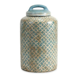 iMax - Haani Hand Painted Jar with Lid - The large Haani lidded jar features hand painted globally inspired pattern over a terracotta body that adds subtle blue tones to any interior.
