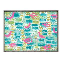 Turquoise Pink Abstract Floating Birds Vintage Wood Wall Art, Small