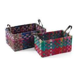 "Go Home Ltd - Set of Rectangle Woven Fabric Baskets by Go Home - Covered in cotton fabric ""chindi"" ropes, which are crafted of fabric remnants creating an intriguing texture, this set of Rectangled Woven Baskets by Go Home add instant color to your space. Storage in a office, family room or just decorative elements, this pair meets the function with the fashion. (GH) Small: 22"" long x 14"" deep x 11.5"" high Large: 24"" long x 17"" deep x 12"" high"