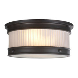 World Imports - Nikolai 2-Light Flush Mount with Ribbed Glass Shade, Oil Rubbed Bronze - All metal construction with a bronze finish