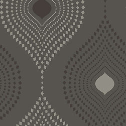Tia Geometric Design Wallpaper, Black, Double Roll - Tia contains a decorative geometric pattern. Overlaying a charcoal background, pattern is accentuated with metallic embellishments.