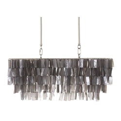 Large Rectangle Hanging Capiz Pendant, Gray