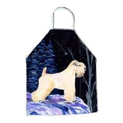 Caroline's Treasures - Starry Night Wheaten Terrier Soft Coated Apron SS8386APRON - Apron, Bib Style, 27 in H x 31 in W; 100 percent  Ultra Spun Poly, White, braided nylon tie straps, sewn cloth neckband. These bib style aprons are not just for cooking - they are also great for cleaning, gardening, art projects, and other activities, too!