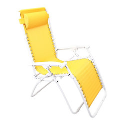"Lamps Plus - Contemporary Zero Gravity Yellow Outdoor Chaise Lounge - Zero Gravity Yellow Outdoor Chaise Lounge Yellow adjustable outdoor chaise lounge chair. PVC mesh fabric on metal frame. Folds easily for storage. Great for a day at the beach or napping in the yard or by the pool. Fully assembled. 65"" deep. 25 1/2"" wide. 44 1/2"" high.  Yellow adjustable outdoor chaise lounge chair.  PVC mesh fabric on metal frame.  Folds easily for storage.  Great for a day at the beach or napping in the yard or by the pool.  Fully assembled.  65"" deep.  25 1/2"" wide.  44 1/2"" high."