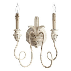 Quorum Lighting - Quorum Lighting Salento Traditional Wall Sconce X-07-2-6035 - Two candelabra lights are supported by delicate curvilinear arms on this Quorum Lighting wall sconce. From the Salento Collection, this traditional wall sconce also features realistic melting wax detailing, a distressed but light Persian White finish and beautiful classic details throughout.
