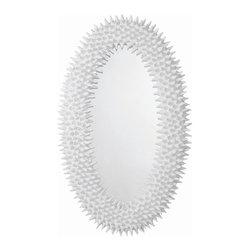 Arteriors - Spore Mirror, White - A faithful reproduction of a Parisian piece circa the 1960s, this remarkable oval mirror makes a bold, bright style statement in your home. It's the juxtaposition of the organic pod-like texture and the bright finish that makes it so unique.