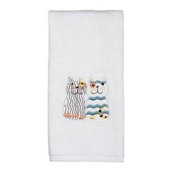 Hand Towel - Meow Collection - This collection is for the cat lover! Kitty cats, whiskers and paws adorn every beautiful, handmade piece. Bright and colorful, these accessories add beauty and charm to the bathroom!