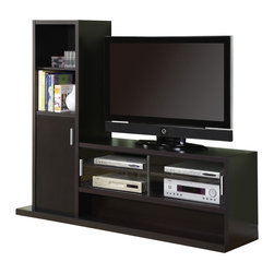 Monarch Specialties - Monarch Specialties 2528 Hollow-Core Entertainment Center in Cappuccino - This contemporary wall unit will add style and functionality to any living room with its sleek straight lines and deep cappuccino finish for a warm and inviting look. The hollow-core structure allows for a large center television opening and five spacious lower shelves that are perfect for electronics components. Attached on one side is more storage space in the form of two shelves and a generously sized cabinet, which are great for displaying picture frames, DVD's and stowing away desired objects.