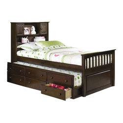 Atlantic Furniture - Atlantic Furniture Captain's Bookcase Bed with 3 Drawer Trundle in Antique Walnu - Atlantic Furniture - Beds - AP8526034 - The Captain's Bookcase Bed offers an under bed trundle that includes 3 storage drawers. The head board features shelves and two cabinets.