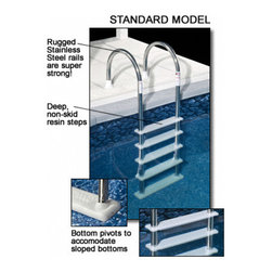 Blue Wave - Blue Wave Ag In-pool Ladder Stainless Steel - Stainless steel in-pool ladder by Blue Wave; this super strong ladder brings the quality and strength of an in-ground ladder to your above-ground pool! This top quality ladder makes exiting and entering your pool easier than ever before. Super strong stainless steel rails allow the ladder to easily accommodate 225 lbs. Our standard stainless steel ladder features polymer non-skid steps that are extra deep for sure footing. Ladder is designed to fit up to 54; deep pools. The base of the ladder pivots to conform to sloping pool bottoms for super safe contact. Ladder comes with white plastic flanges for secure deck mounting. Install our stainless steel ladder this season at this great price! 1-year warranty.