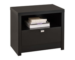 Prepac Furniture - Prepac Black Series 9 Designer 1 Drawer Nightstand - The Black Series 9 Designer 1 Drawer Nightstand by Prepac draws your eye with its bold, thick tops and sides, and is the perfect choice for your modern bedroom. The open shelf is ideal for items you want to be handy while a generously sized drawer is perfect for out-of-sight storage. Constructed from CARB-compliant, laminated composite woods with a sturdy MDF backer. Drawer runs smoothly on metal glides with built-in safety stops.    Features:
