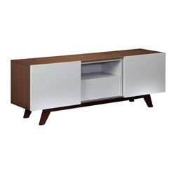 Furnitech 70 in. Modern TV Stand Media Console - Create a suitable place for your television with the Furnitech 70 in. Modern TV Stand Media Console to enhance the décor of your home. This TV stand is apt for most flat screens measuring up to 73 inches with ample space for a speaker or other media components. The wood veneered case comes with an elegant walnut finish. It has light grey, lacquer sliding doors and inserts. Additionally, it has a storage drawer, two adjustable shelves and detachable, ventilated back panels.