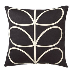 "Orla Kiely - Orla Kiely Linear Stem Pillow/Cushion - Chocolate/Cream - Filled pillow features Orla Kiely's signature Linear Stem print. Two sided design with 90% cotton/10% linen with feather fill. Machine washable cover. Measures: 18"" square"