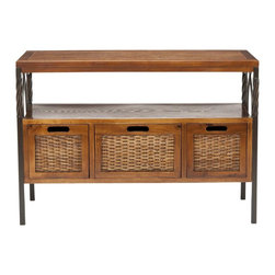 Safavieh - Joshua Console - Antique Pewter/Dark Walnut - The Joshua console's casual, natural styling gets dressed up a bit with wrought iron legs crafted with rope twisting at the top and elegant scrolls on the side. Here, three ultra-roomy drawers with woven wicker fronts and an extra shelf make light work of organizing the clutter of life. Minor assembly required.