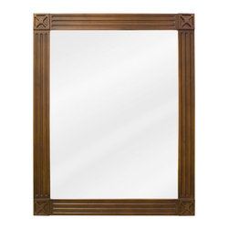 Hardware Resources - Hardware Resources MIR047 Wood Mirror - 20 in  x 25 in  Toffee mirror with beveled glass