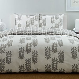 City Scene Paloma Leaf Gray Bedding Set - Serene and stylized, the City Scene Paloma Leaf Gray Bedding Set will add a soothing element to your space. The crisp, clean presentation of this grey and white set will pair perfectly with your modern décor. Enjoy the style and comfort of this set which is constructed of 100% cotton for extra softness. Choose from a comforter or duvet, in your choice of size, both of which come with matching shams to complete the look.About City SceneCity Scene bedding will add sophisticated style to your bedroom. Unique patterns, vivid colors, quality materials, and attention to detail help City Scene's bedding products give your room a designer flair. And their careful craftsmanship means their bedding will keep your room beautiful for years.