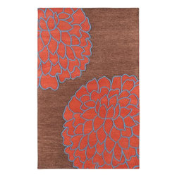 """Surya - Surya Artist Studio 3' 3 x 5' 3 Contemporary Plush Rug (ART206-3353) - Surya ART206-3353 Artist Studio 3' 3"""" x 5' 3"""" Contemporary Plush Rug, Brown and Coral Red with Sky Blue"""