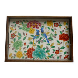 Golden Lotus - Chinese Porcelain Tile Flower Bird Theme Wooden Tray - This is a wooden tray has a porcelain tile with colorful flower & bird scenery.