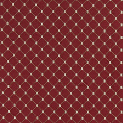 Red, Stitched Diamond Jacquard Woven Upholstery Fabric By The Yard - This material is an upholstery grade jacquard fabric. It is lightweight, but is rated heavy duty and upholstery grade.