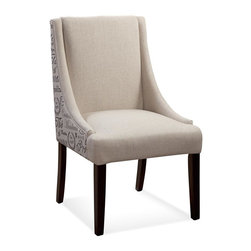 Bassett Mirror - Woodward Parsons Chair - Wooden legs. Scripted fabric. Natural linen upholstery. 23 in. W x 19 in. D x 38 in. H