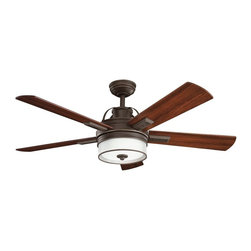 "DECORATIVE FANS - DECORATIVE FANS Lacey 52"" Transitional Ceiling Fan X-ZO181003 - A unique blend of masculine and feminine lines give this Decorative Fans ceiling fan an updated look that hints at industrial influencing. From the Lacey Collection, the Olde Bronze finish compliments the warm tones of the reversible walnut/cherry blades. An etched cased opal glass shade completes the look."