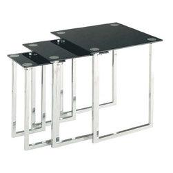 Lite Source - Nesting Table Set Of 3Pcs - Chrome/Tempered Black Glass Top - Nesting Table Set Of 3Pcs - Chrome/Tempered Black Glass Top