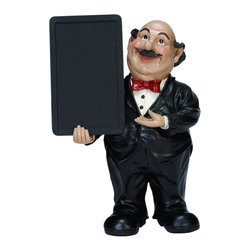 "ecWorld - Casa Cortes Waiter Figurine with Chalk Board Kitchen Decor -  18"" H - This handcrafted chef figurine is perfect for any chef-inspired, bistro-style, or French-themed kitchen. Dressed in traditional whites, he adds a dash of personality to any kitchen decor and you can write any message or menu of the day on the board."