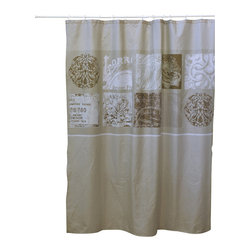 Printed Polyester Shower Curtain Romance Champagne/ Brown Glaze Background - This printed shower curtain Romance for bathrooms is in polyester with a tissue effect. It is opaque with rosette patterns and is equipped with 12 strengthened eyelets for hanging (12 shower rings needed, sold separately). It will fit perfectly in your shower or bathtub. Prior to hanging, immerse curtain in a bath of warm water to help remove creases. Cleaning with soapy water only. Width 71-Inch and height 79-Inch. Color champagne/brown glaze. This shower curtain is perfect to add a decorative touch in your bathroom! Complete your Romance decoration with other products of the same collection. Imported.