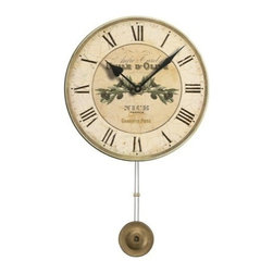 """Floating Circus - Olive Oil Advertisement Clock 13"""" - Beautiful Pendulum Clock with a French theme in pale gold and greens is made of"""