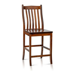 Summit Furnishings - Solid Maple Wood Counter Height/Bar Stool - Solid maple counter height side chair with mortise & tenon construction, all critical joints glued and screwed. Hand crafted in America to be the perfect fit for any American home. Summit Furnishings provides stylish home furnishings that are made to last and be enjoyed. Rich brown finish with catalyzed conversion varnish topcoat provides the ultimate in durable long lasting finish. Tested to withstand high heat, hot and cold cycles, long exposure to a detergent and water solution, substances typically found in the kitchen including vinegar, lemon, orange and grape juices, tomato catsup, coffee, olive oil, 100-proof alcohol for 24 hours and mustard for one hour. This furniture passes with a perfect rating showing no discoloration, stain, swelling, blistering or other film failures.