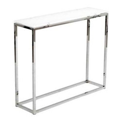 Eurostyle - Eurostyle Sandor Rectangular Console Table w/ White Glass Top & Chrome - Rectangular Console Table w/ White Glass Top & Chrome belongs to Sandor Collection by Eurostyle The proportions of these three tables (coffee, side and console) are iconic to say the least. Tops in clear or pure white glass float on perfectly geometric chrome steel bases. We're talking Museum of Modern art here. Not really. But it's the right thing to do. Console Table (1)