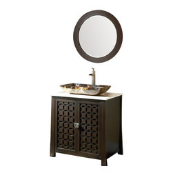 "D_cor Style Giovanni Bathroom sink vanity cabinet  w/mirror 30"" - The Giovanni is a new additional to our modern/contemporary group of vanities. The clean and sleek design complements to many today's modern bathroom decors. This bathroom vanity features durable wood construction with a thick cream hand-polished marble counter top. Rectangle vessel and water fall faucet set are included in the stunning low price."
