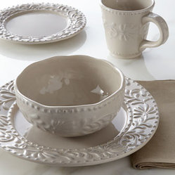 "Horchow - 16-Piece Taupe Bianca Leaf Dinnerware Service - A delicate tracery of leaves between bands of beading enhances the comfortable appeal of this dinnerware set, making it ideal for year-round entertaining. Made of ceramic. Dishwasher and microwave safe. 16-piece service includes four 10.5""Dia. dinner..."