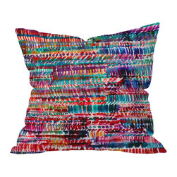 DENY Designs - Amy Sia Rain 2 Throw Pillow, 20x20x6 - When it comes to decor, you have your own eclectic style, so you have an affinity for creative designs that are a little outside the lines. Amy Sia's vibrant throw pillow design features rows of jewel-toned watercolor brushstrokes that organically overlap and blend, creating a fluid rippling effect. Artsy and unique, it's a perfect way to give your decor that personalized touch.