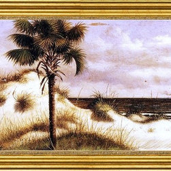 """William Aiken Walker-14""""x28"""" Framed Canvas - 14"""" x 28"""" William Aiken Walker Sand Dunes, Palmetto (Sabal) and Steamboat framed premium canvas print reproduced to meet museum quality standards. Our museum quality canvas prints are produced using high-precision print technology for a more accurate reproduction printed on high quality canvas with fade-resistant, archival inks. Our progressive business model allows us to offer works of art to you at the best wholesale pricing, significantly less than art gallery prices, affordable to all. This artwork is hand stretched onto wooden stretcher bars, then mounted into our 3"""" wide gold finish frame with black panel by one of our expert framers. Our framed canvas print comes with hardware, ready to hang on your wall.  We present a comprehensive collection of exceptional canvas art reproductions by William Aiken Walker."""