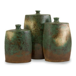 """IMAX CORPORATION - Mazatlan Angular Vases - Set of 3 - This set of three earthenware vases are finished with a burned out turquoise glaze, giving them an antiqued and comfortably worn appearance. Set of 3 in various sizes measuring around 19.75""""L x 15.75""""W x 17.75""""H each. Shop home furnishings, decor, and accessories from Posh Urban Furnishings. Beautiful, stylish furniture and decor that will brighten your home instantly. Shop modern, traditional, vintage, and world designs."""