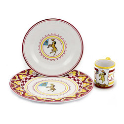 Artistica - Hand Made in Italy - PALIO DI SIENA: VALDIMONTONE (Valley of the Ram) Place setting pre-pack: Charger - The ''Palio di Siena'' is a tournament as a replica of a medieval horse race which is ran twice year, during the summer season, in the city of Siena, located in the beautiful Tuscany region.
