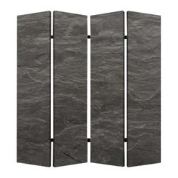 BLACK SLATE SCREEN - Give your decor a clean slate with this stunning four panel screen, crafted from canvas that has been printed to look like stone. This stately black finish exists on either side of the screen, with slightly varying views. Though it looks like stone, the screen is actually light weight and easy to move around, so you can play with this refined design element in your space!
