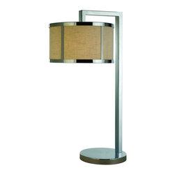 Joshua Marshal - One Light Polished Chrome Coarse Cream Linen Shade Table Lamp - One Light Polished Chrome Coarse Cream Linen Shade Table Lamp