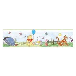 Roommates Decor - Winnie the Pooh Toddler Peel & Stick Border - Bring the fun and adventure of Winnie the Pooh and all his friends to any room with this adorable peel & stick border. Removable, reusable, and repositionable, this border is easy to apply or move around as you please. The border depicts a springtime scene that includes Pooh, Piglet, Tigger, Eeyore, several butterflies, and a few buzzing honeybees. The soft colors make this an easy coordinate to existing Pooh & Friends decor, or for a nursery or child�s bedroom. Pair with the matching Winnie the Pooh wall decals or mini panels to create a full theme right on your walls.